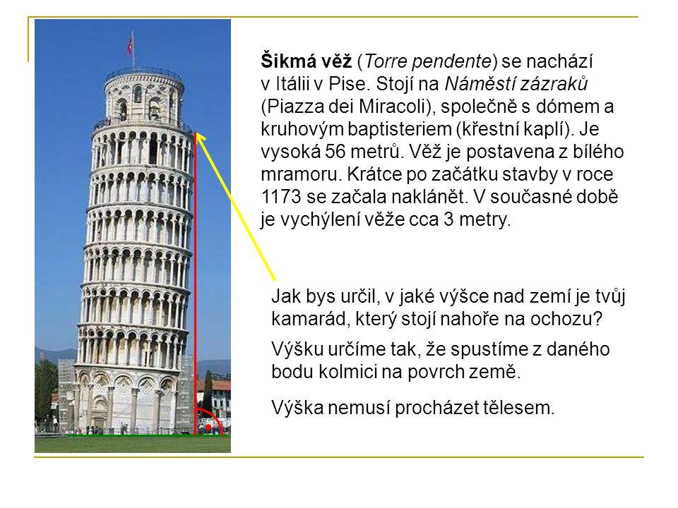 Šikmá věž (Torre pendente) se nachází v Itálii v Pise. Stojí na Náměstí zázraků (Piazza dei Miracoli), společně s dómem a kruhovým baptisteriem (křest