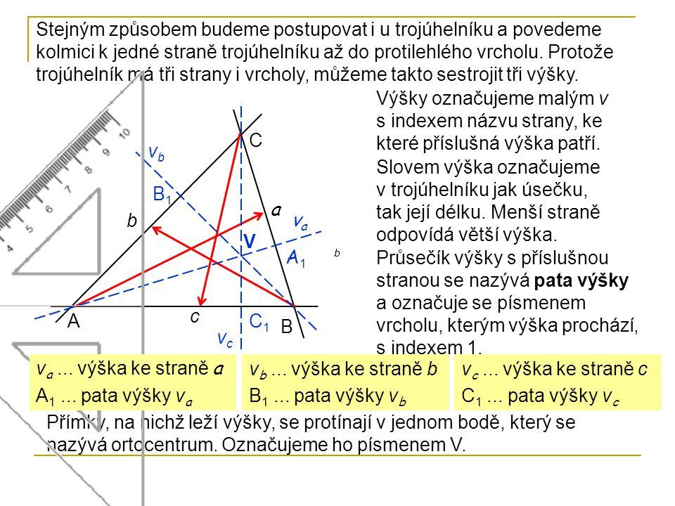 Stejným způsobem budeme postupovat i u trojúhelníku a povedeme kolmici k jedné straně trojúhelníku až do protilehlého vrcholu. Protože trojúhelník má