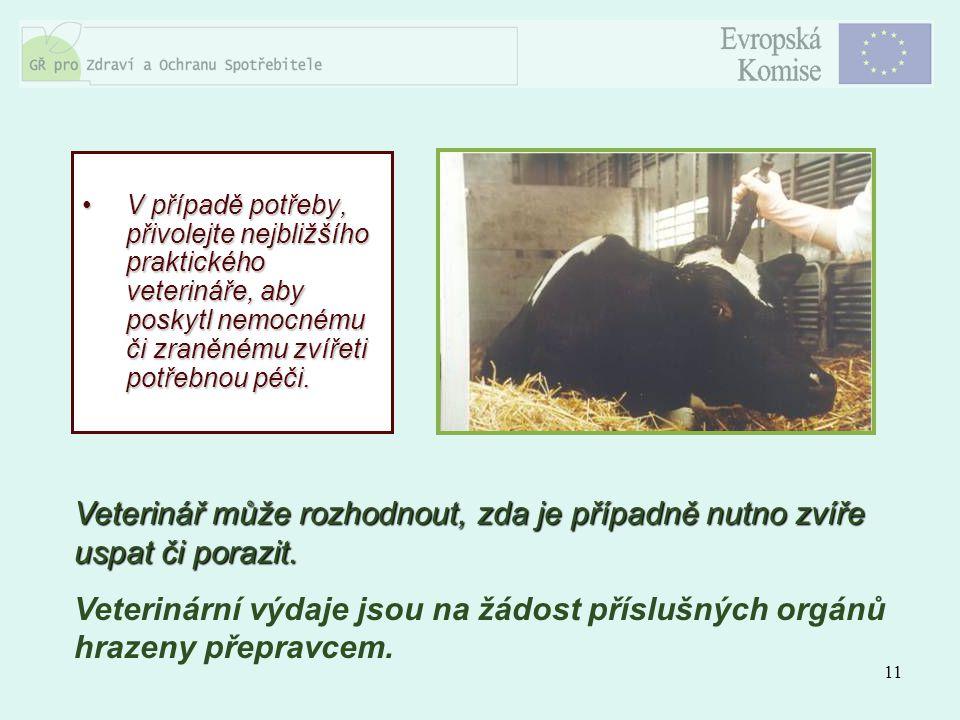 11 V případě potřeby, přivolejte nejbližšího praktického veterináře, aby poskytl nemocnému či zraněnému zvířeti potřebnou péči.V případě potřeby, přiv