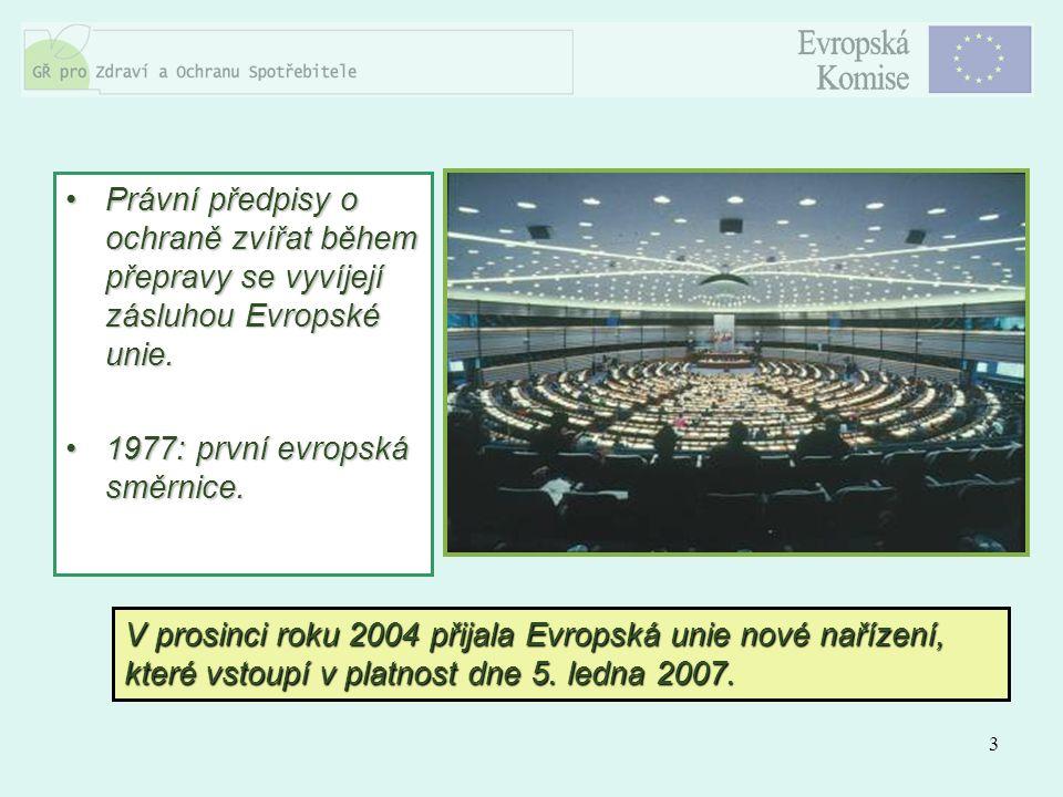 3 Právní předpisy o ochraně zvířat během přepravy se vyvíjejí zásluhou Evropské unie.Právní předpisy o ochraně zvířat během přepravy se vyvíjejí záslu