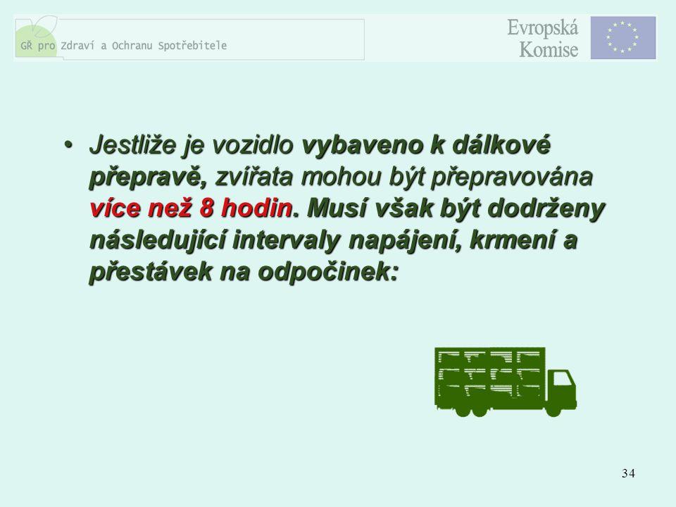 34 Jestliže je vozidlo vybaveno k dálkové přepravě, zvířata mohou být přepravována více než 8 hodin. Musí však být dodrženy následující intervaly napá