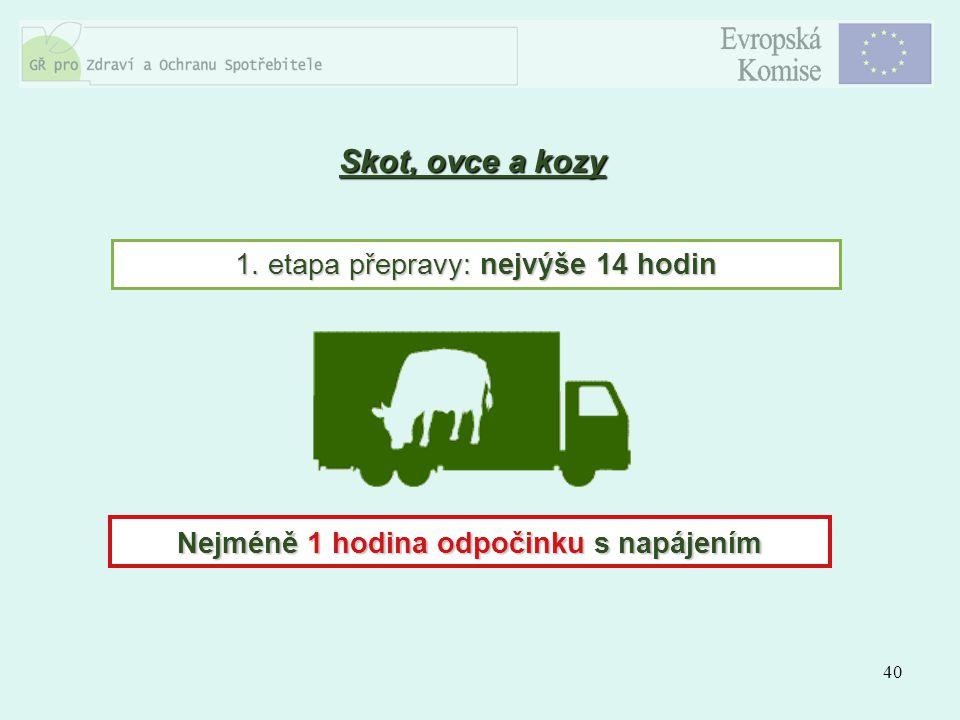 40 Skot, ovce a kozy 1. etapa přepravy: nejvýše 14 hodin Nejméně 1 hodina odpočinku s napájením