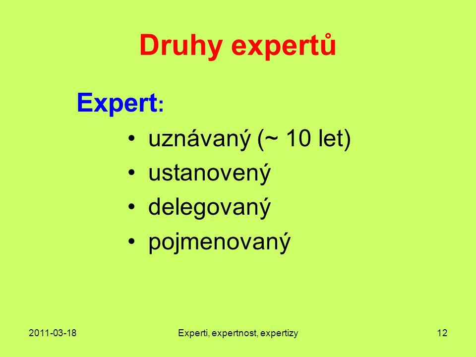 2011-03-18Experti, expertnost, expertizy12 Druhy expertů Expert : uznávaný (~ 10 let) ustanovený delegovaný pojmenovaný
