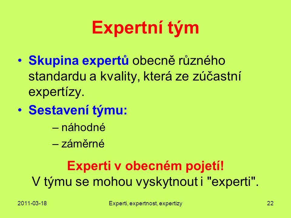 2011-03-18Experti, expertnost, expertizy22 Expertní tým Skupina expertů obecně různého standardu a kvality, která ze zúčastní expertízy.
