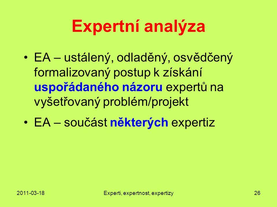 2011-03-18Experti, expertnost, expertizy26 Expertní analýza EA – ustálený, odladěný, osvědčený formalizovaný postup k získání uspořádaného názoru expertů na vyšetřovaný problém/projekt EA – součást některých expertiz