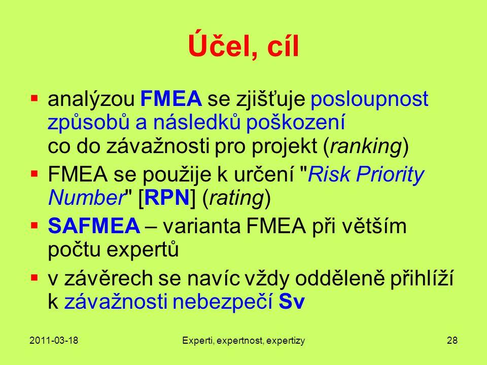 2011-03-18Experti, expertnost, expertizy28 Účel, cíl  analýzou FMEA se zjišťuje posloupnost způsobů a následků poškození co do závažnosti pro projekt (ranking)  FMEA se použije k určení Risk Priority Number [RPN] (rating)  SAFMEA – varianta FMEA při větším počtu expertů  v závěrech se navíc vždy odděleně přihlíží k závažnosti nebezpečí Sv