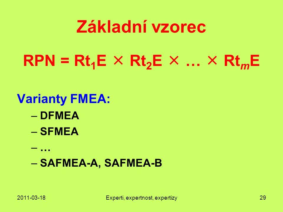 2011-03-18Experti, expertnost, expertizy29 Základní vzorec RPN = Rt 1 E  Rt 2 E  …  Rt m E Varianty FMEA: –DFMEA –SFMEA –… –SAFMEA-A, SAFMEA-B