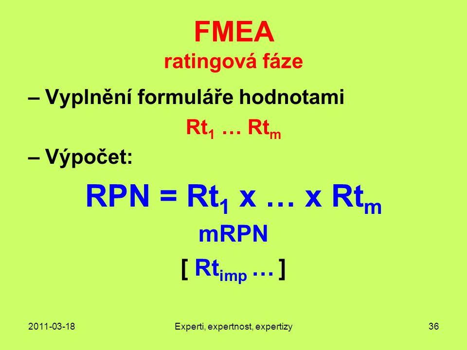 2011-03-18Experti, expertnost, expertizy36 FMEA ratingová fáze – Vyplnění formuláře hodnotami Rt 1 … Rt m – Výpočet: RPN = Rt 1 x … x Rt m mRPN [ Rt imp … ]