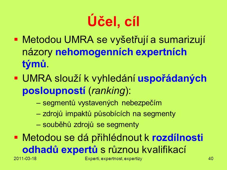 2011-03-18Experti, expertnost, expertizy40 Účel, cíl  Metodou UMRA se vyšetřují a sumarizují názory nehomogenních expertních týmů.