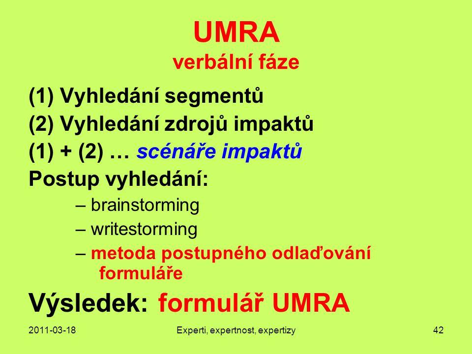 2011-03-18Experti, expertnost, expertizy42 UMRA verbální fáze (1)Vyhledání segmentů (2)Vyhledání zdrojů impaktů (1) + (2) … scénáře impaktů Postup vyhledání: – brainstorming – writestorming – metoda postupného odlaďování formuláře Výsledek: formulář UMRA
