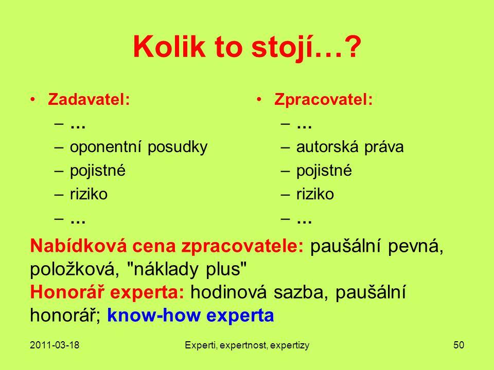 2011-03-18Experti, expertnost, expertizy50 Kolik to stojí….