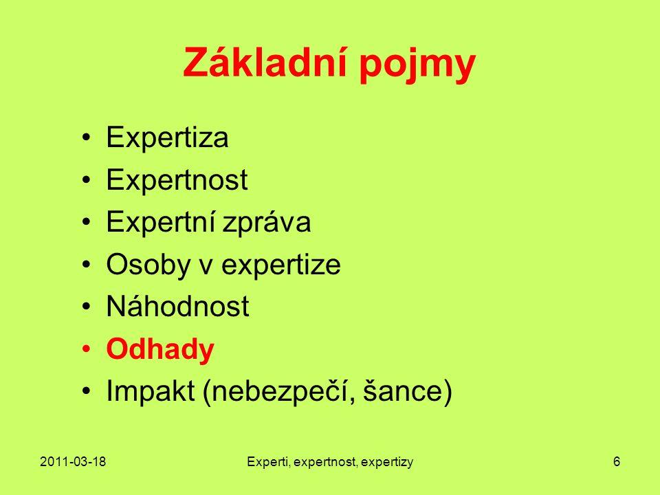 2011-03-18Experti, expertnost, expertizy6 Základní pojmy Expertiza Expertnost Expertní zpráva Osoby v expertize Náhodnost Odhady Impakt (nebezpečí, šance)