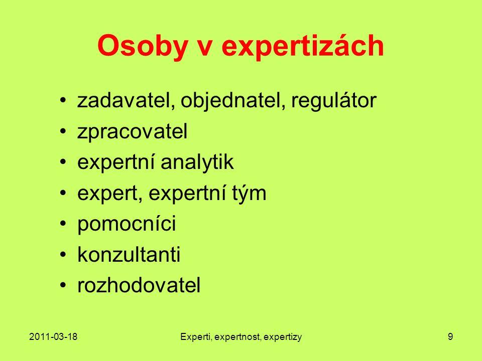 2011-03-18Experti, expertnost, expertizy9 Osoby v expertizách zadavatel, objednatel, regulátor zpracovatel expertní analytik expert, expertní tým pomocníci konzultanti rozhodovatel