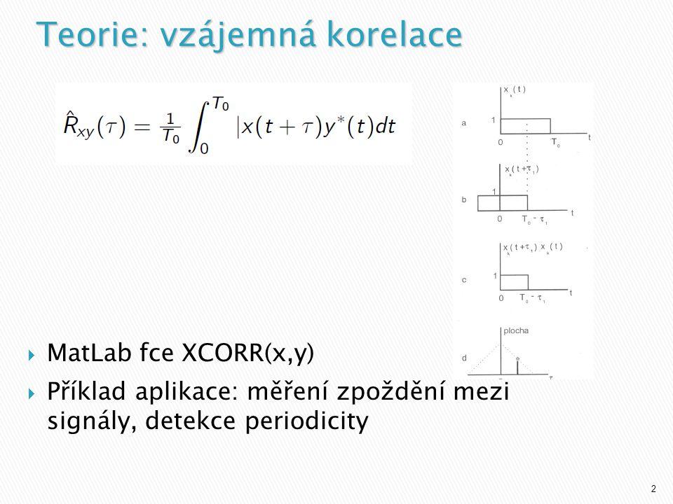 2  MatLab fce XCORR(x,y)  Příklad aplikace: měření zpoždění mezi signály, detekce periodicity Teorie: vzájemná korelace