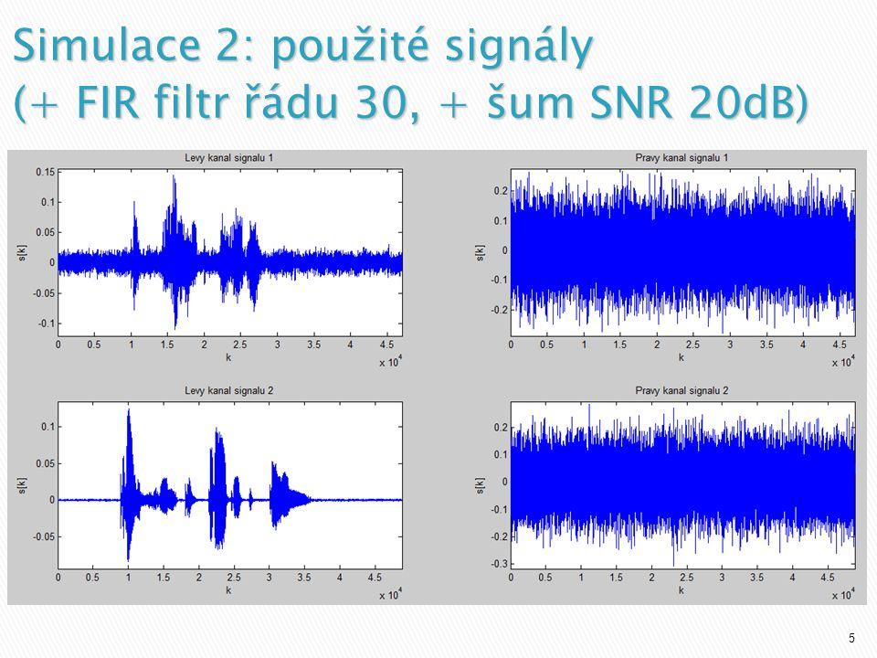 5 Simulace 2: použité signály (+ FIR filtr řádu 30, + šum SNR 20dB)