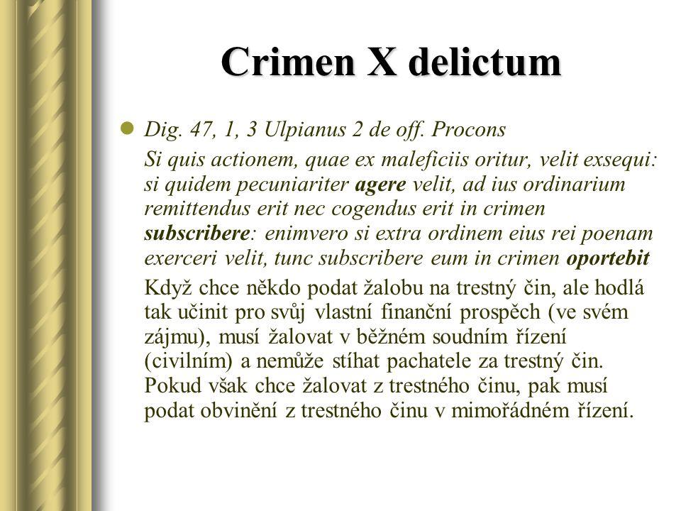 Crimen X delictum Dig. 47, 1, 3 Ulpianus 2 de off.