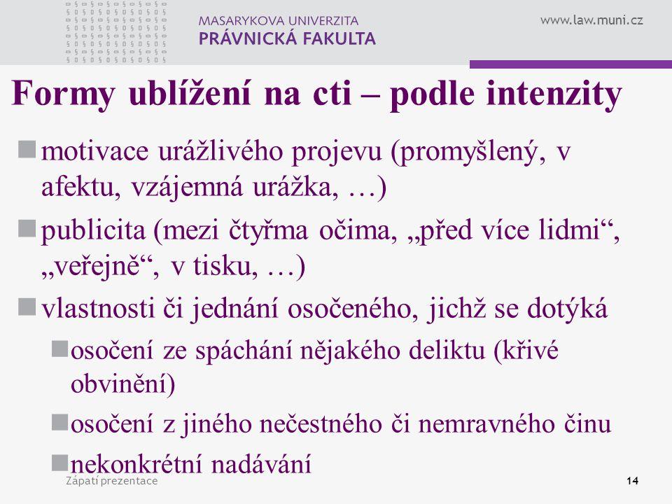 www.law.muni.cz Zápatí prezentace14 Formy ublížení na cti – podle intenzity motivace urážlivého projevu (promyšlený, v afektu, vzájemná urážka, …) pub
