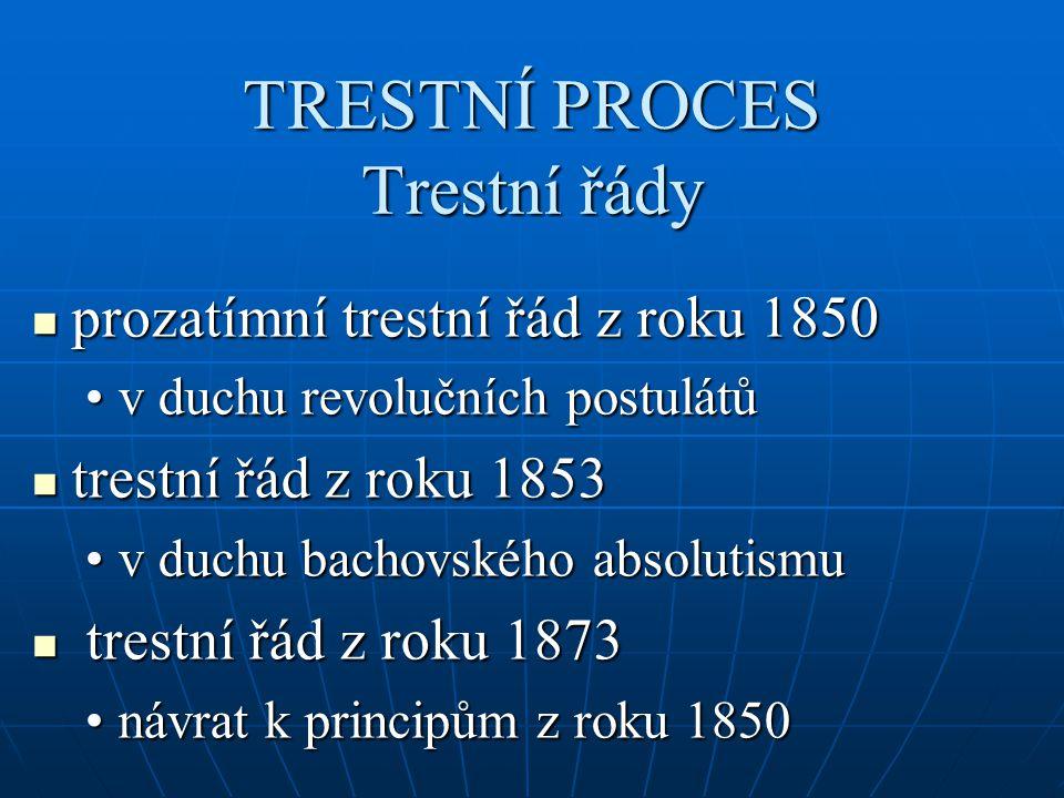 TRESTNÍ PROCES Trestní řády prozatímní trestní řád z roku 1850 prozatímní trestní řád z roku 1850 v duchu revolučních postulátův duchu revolučních pos