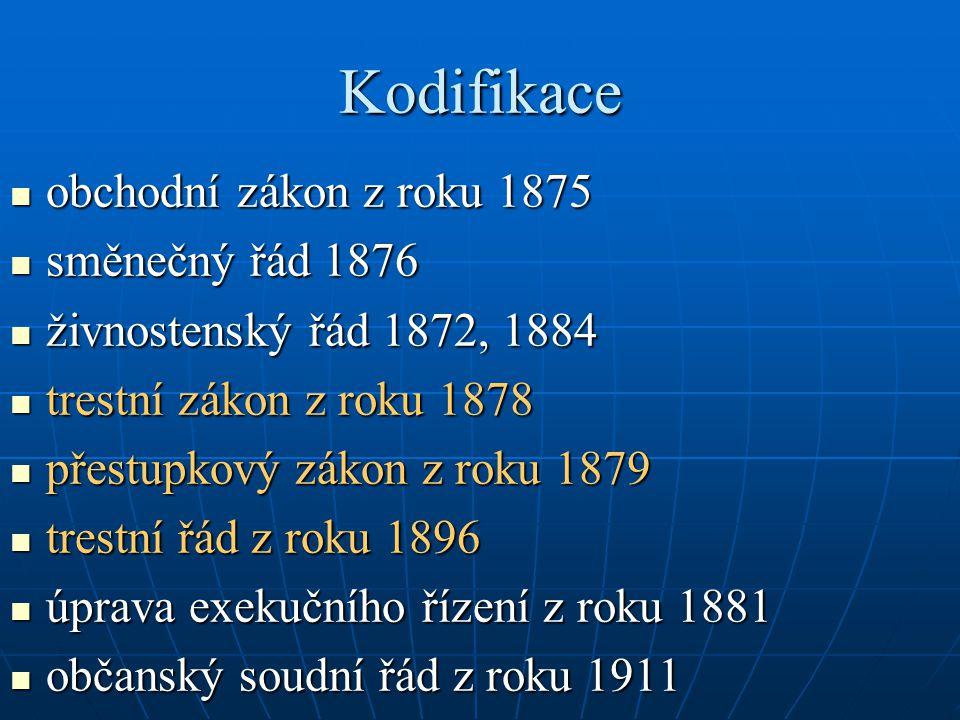 Kodifikace obchodní zákon z roku 1875 obchodní zákon z roku 1875 směnečný řád 1876 směnečný řád 1876 živnostenský řád 1872, 1884 živnostenský řád 1872