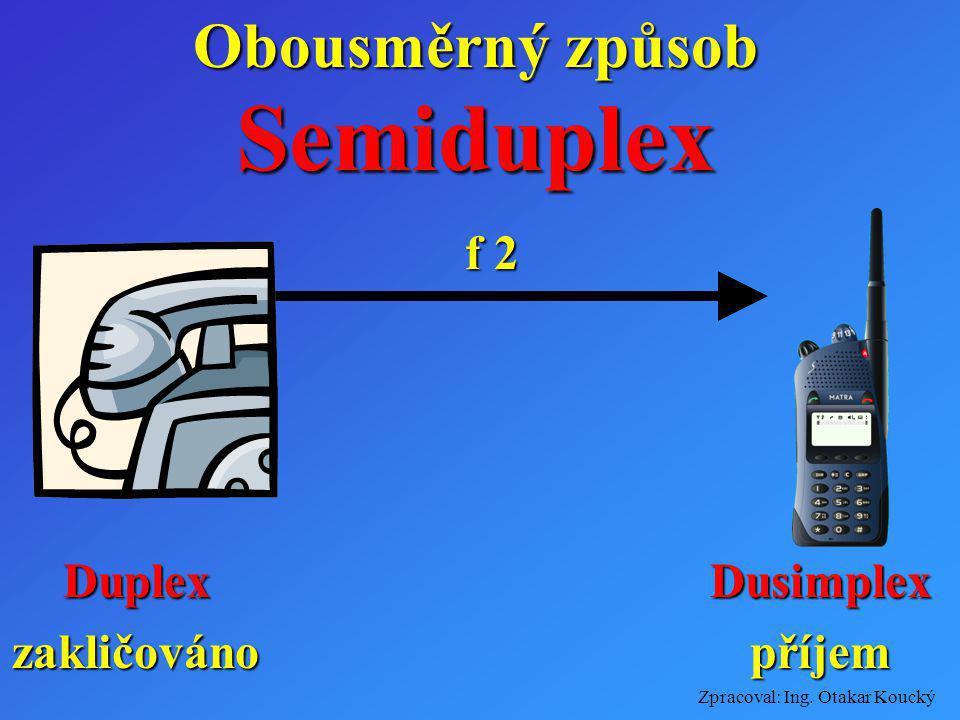 Zpracoval: Ing. Otakar Koucký Obousměrný způsob f 1 Příjemvysílání f 2 Duplex Příjemvysílání V jeden časový okamžik