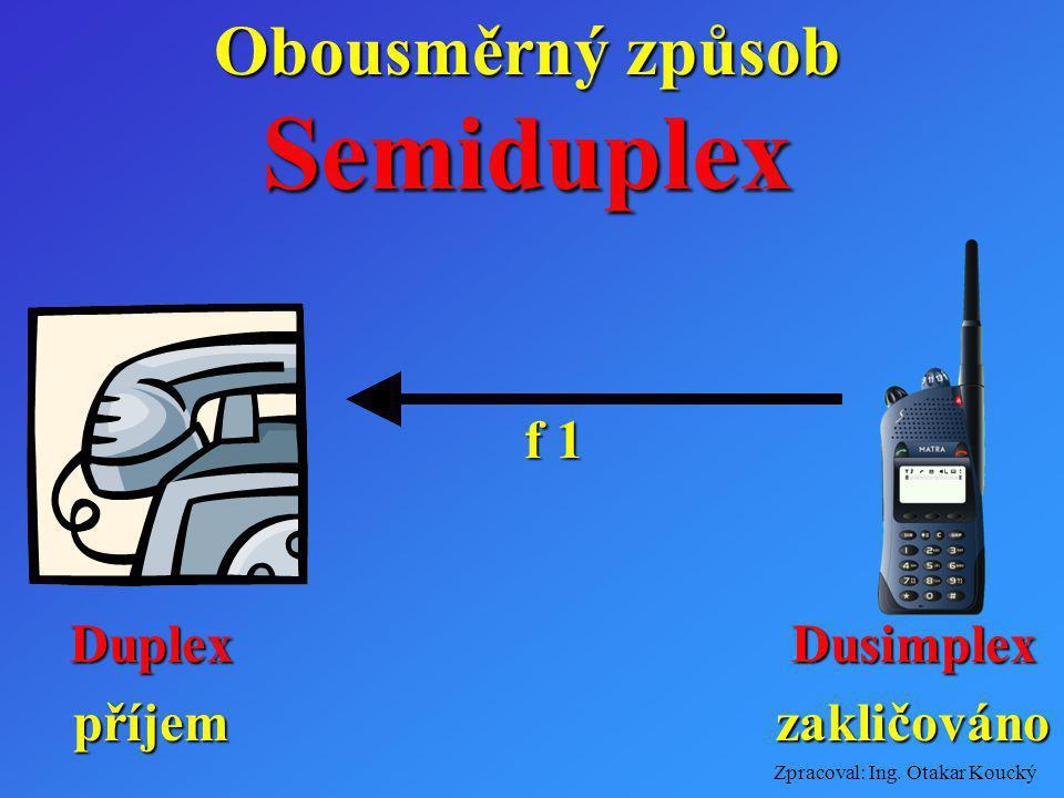 Zpracoval: Ing. Otakar Koucký Obousměrný způsob Duplexzakličováno f 2 Semiduplex Dusimplexpříjem