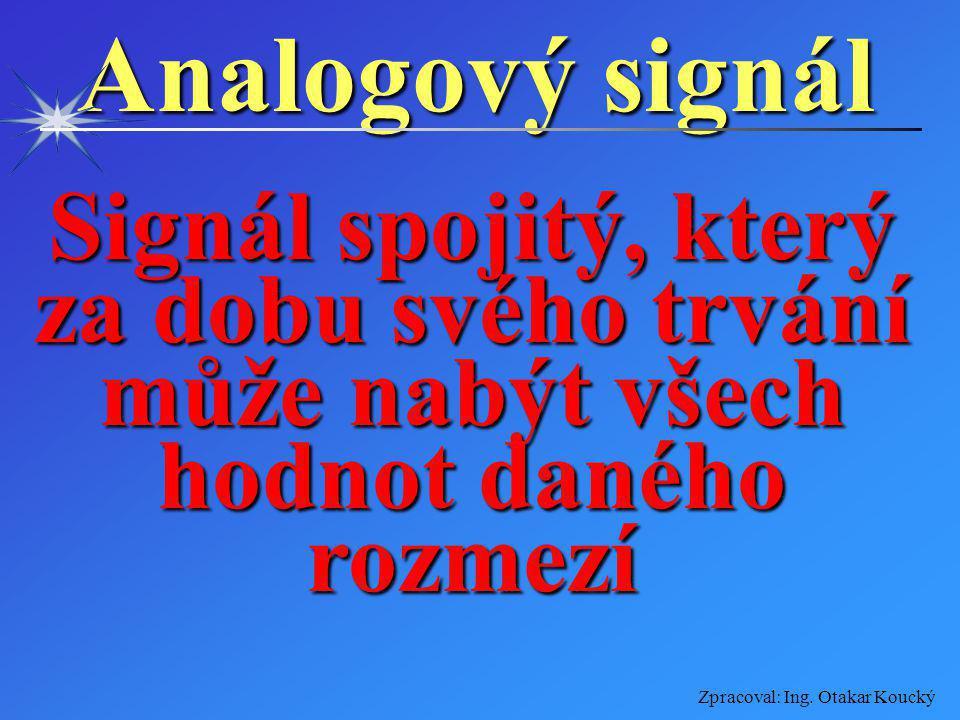 Zpracoval: Ing. Otakar Koucký Signály dělíme Analogový signálAnalogový signál Diskrétní signálDiskrétní signál