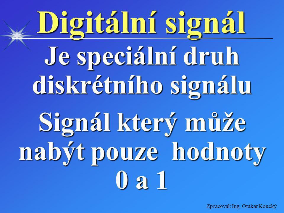 Zpracoval: Ing. Otakar Koucký Diskrétní signál Signál nespojitý, který za dobu svého trvání může nabýt pouze předem stanovených hodnot daného rozmezí
