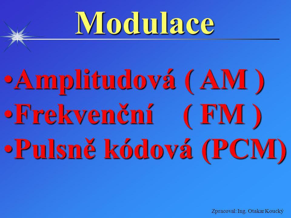 Zpracoval: Ing. Otakar KouckýModulace Je úprava nosného vysokofrekvenčního signálu jiným signálem (modulačním), který obsahuje přenášenou informaci