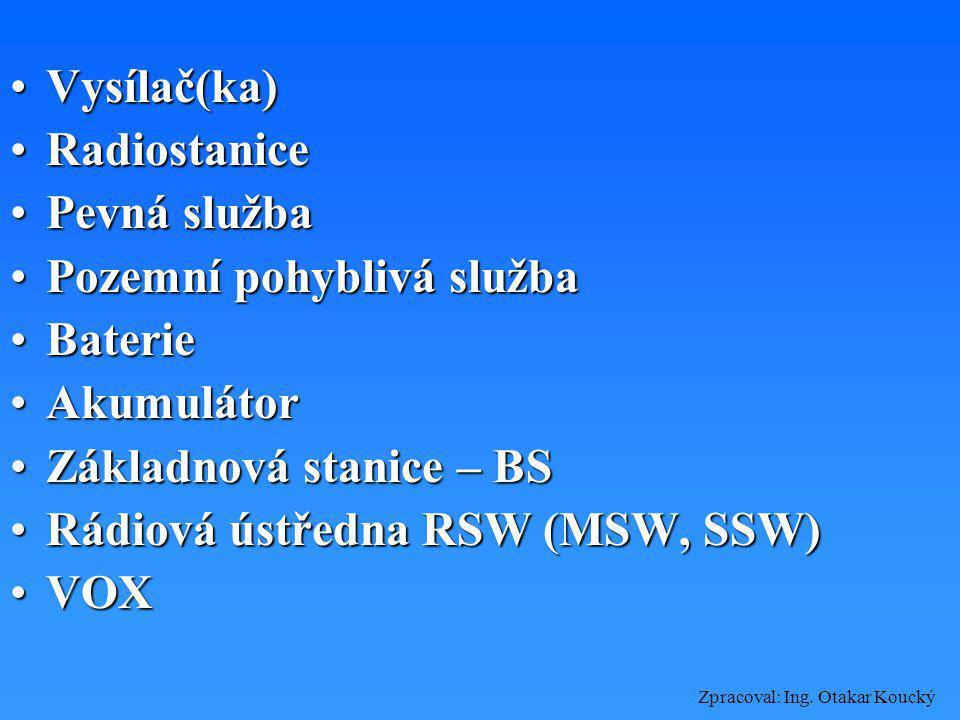 Zpracoval: Ing. Otakar Koucký Základní pojmy TelekomunikaceTelekomunikace Telekomunikace po vedeníTelekomunikace po vedení Radiokomunikace (pomocí rád