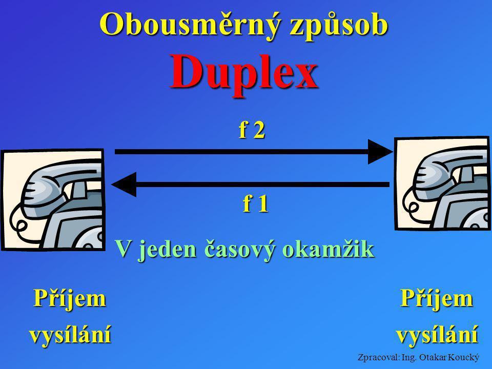 Zpracoval: Ing. Otakar Koucký Obousměrný způsob Dusimplex f 2 zakličováno příjem