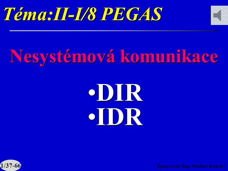 Zpracoval: Ing. Otakar Koucký Téma:II-I/8 PEGAS Nesystémová komunikace DIR IDR DIR IDR 1/37-66