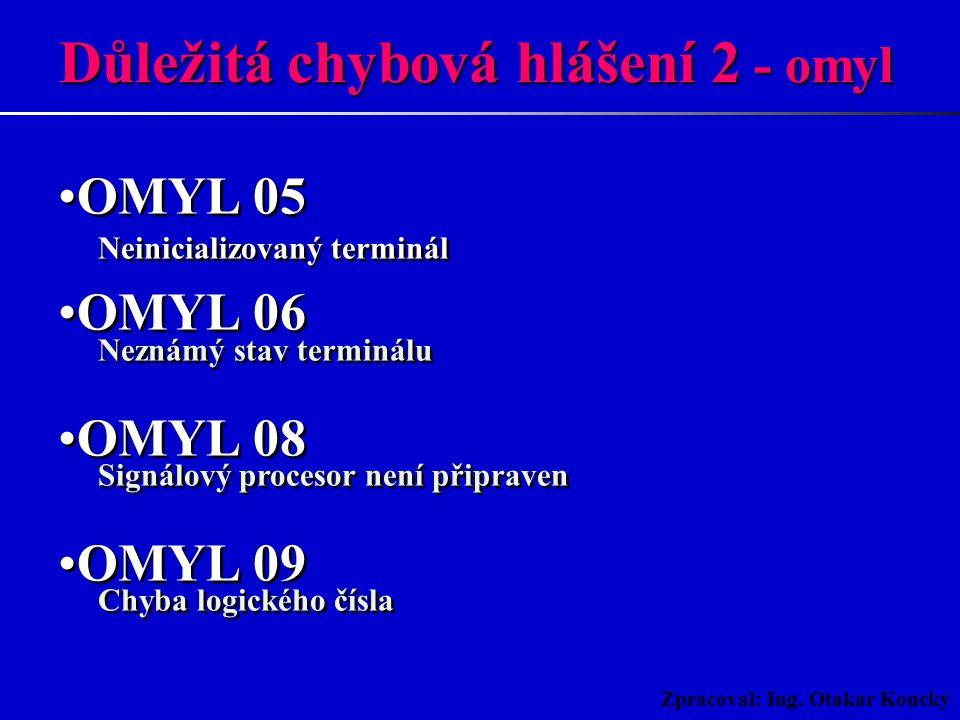 Zpracoval: Ing. Otakar Koucký OMYL 01 Poplach při chybě integrity paměti M1 OMYL 02 Poplach při chybě inicializace paměti M1 OMYL 03 Poplach při chybě
