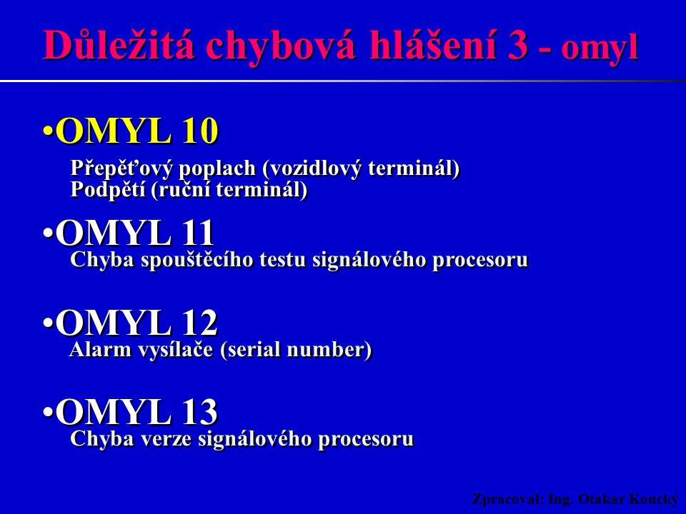 Zpracoval: Ing. Otakar Koucký OMYL 05 Neinicializovaný terminál OMYL 06 Neznámý stav terminálu OMYL 08 Signálový procesor není připraven OMYL 09 Chyba