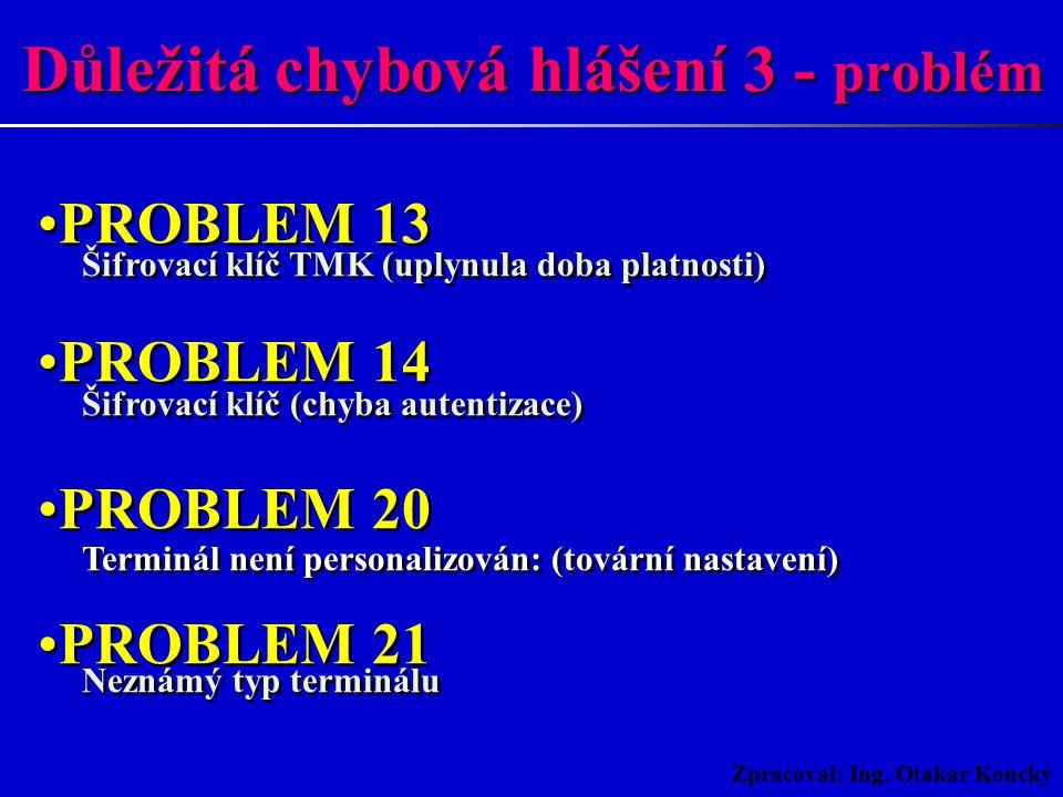 Zpracoval: Ing. Otakar Koucký PROBLEM 01 Terminál je definován, ale zablokován PROBLEM 10 Adresa není správná, není v plánu PROBLEM 11 Terminál není d