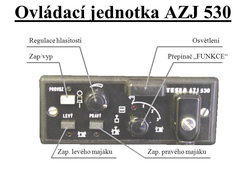 """Přepínač """"FUNKCE"""" OsvětleníRegulace hlasitosti Zap/vyp Zap. pravého majákuZap. levého majáku Ovládací jednotka AZJ 530"""
