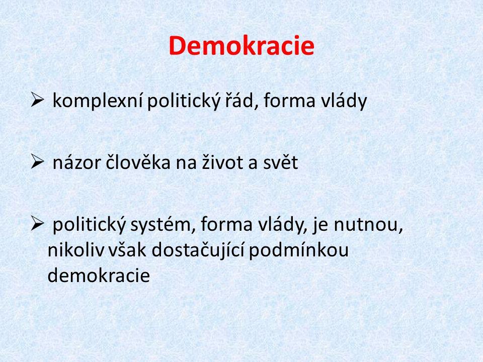 Demokracie  komplexní politický řád, forma vlády  názor člověka na život a svět  politický systém, forma vlády, je nutnou, nikoliv však dostačující