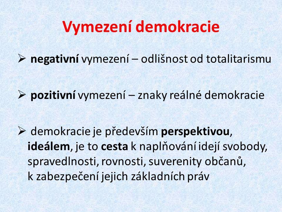 Vymezení demokracie  negativní vymezení – odlišnost od totalitarismu  pozitivní vymezení – znaky reálné demokracie  demokracie je především perspek