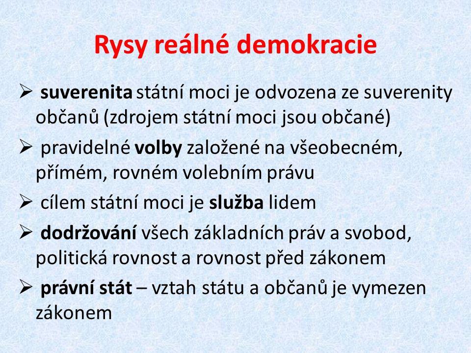 Rysy reálné demokracie  suverenita státní moci je odvozena ze suverenity občanů (zdrojem státní moci jsou občané)  pravidelné volby založené na všeo