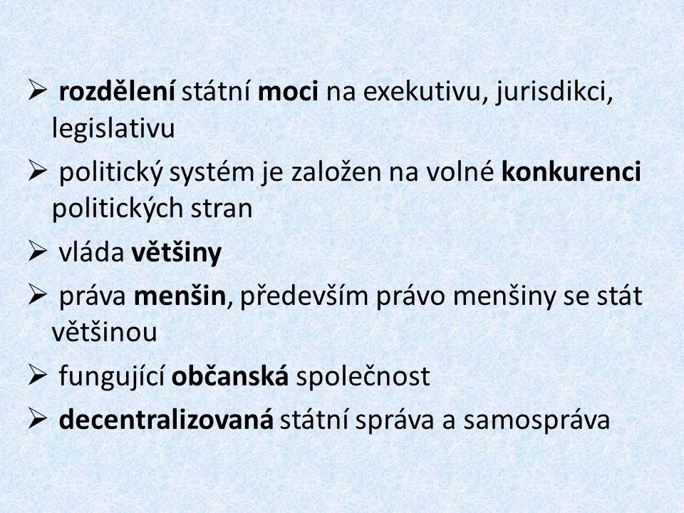  rozdělení státní moci na exekutivu, jurisdikci, legislativu  politický systém je založen na volné konkurenci politických stran  vláda většiny  pr