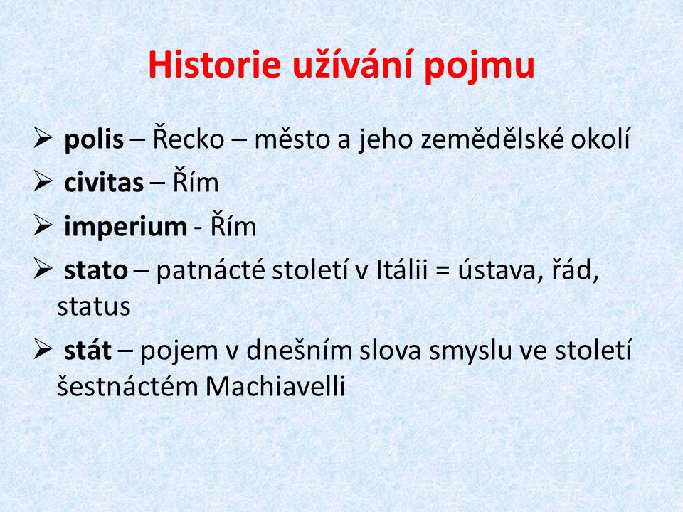 Historie užívání pojmu  polis – Řecko – město a jeho zemědělské okolí  civitas – Řím  imperium - Řím  stato – patnácté století v Itálii = ústava,