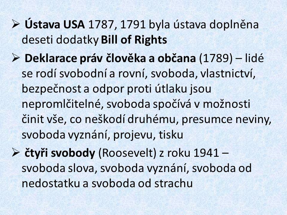  Ústava USA 1787, 1791 byla ústava doplněna deseti dodatky Bill of Rights  Deklarace práv člověka a občana (1789) – lidé se rodí svobodní a rovní, s