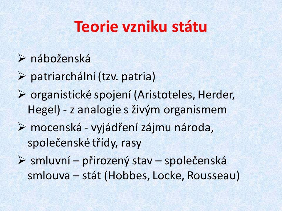 Teorie vzniku státu  náboženská  patriarchální (tzv. patria)  organistické spojení (Aristoteles, Herder, Hegel) - z analogie s živým organismem  m