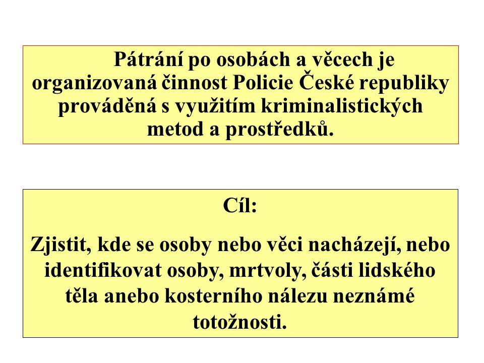 Pátrání po osobách a věcech je organizovaná činnost Policie České republiky prováděná s využitím kriminalistických metod a prostředků. Cíl: Zjistit, k