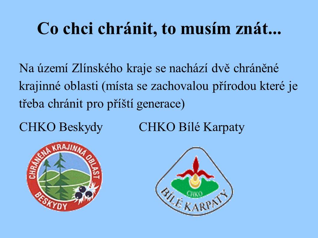 Co chci chránit, to musím znát... Na území Zlínského kraje se nachází dvě chráněné krajinné oblasti (místa se zachovalou přírodou které je třeba chrán