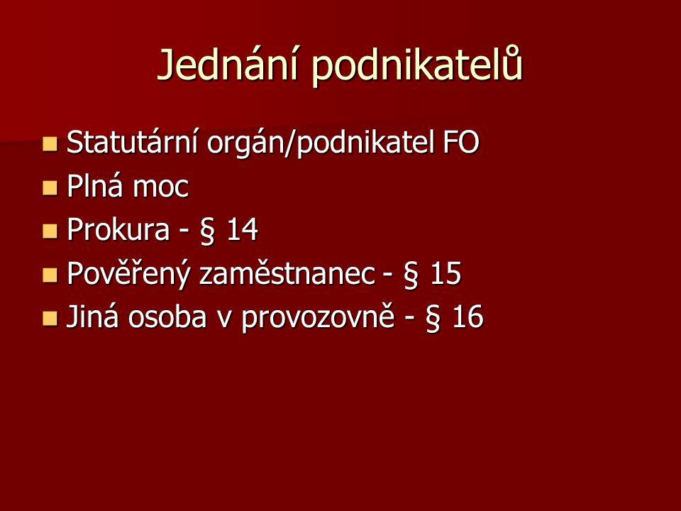 Jednání podnikatelů Statutární orgán/podnikatel FO Statutární orgán/podnikatel FO Plná moc Plná moc Prokura - § 14 Prokura - § 14 Pověřený zaměstnanec