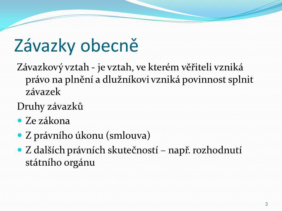 Další dělení závazkových vztahů Synalagmatické x Asynalagmatické Lukrativní x Onerozní Pro obchodní právo typická úplatnost 24