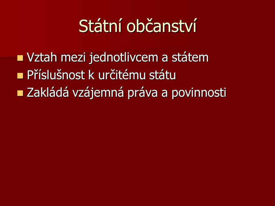Státní občanství Vztah mezi jednotlivcem a státem Vztah mezi jednotlivcem a státem Příslušnost k určitému státu Příslušnost k určitému státu Zakládá v