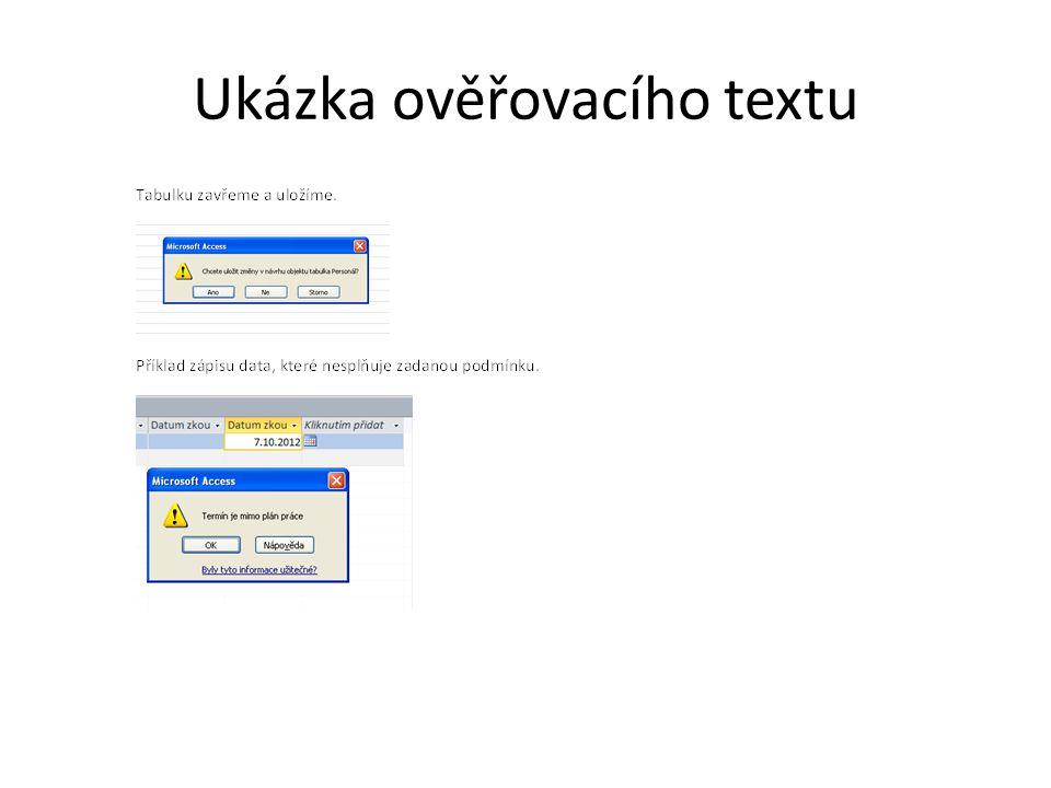 Ukázka ověřovacího textu