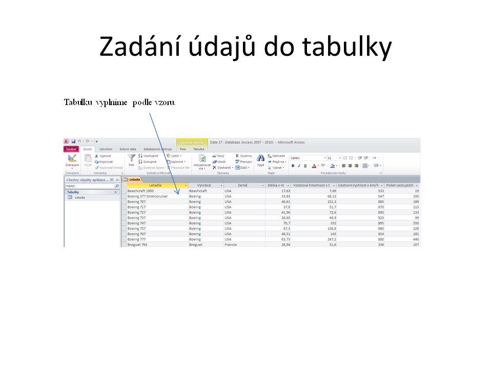 Zadání údajů do tabulky