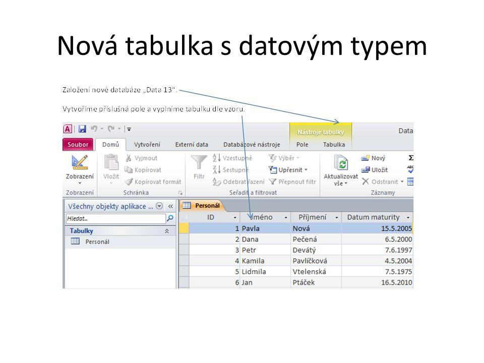 Nová tabulka s datovým typem